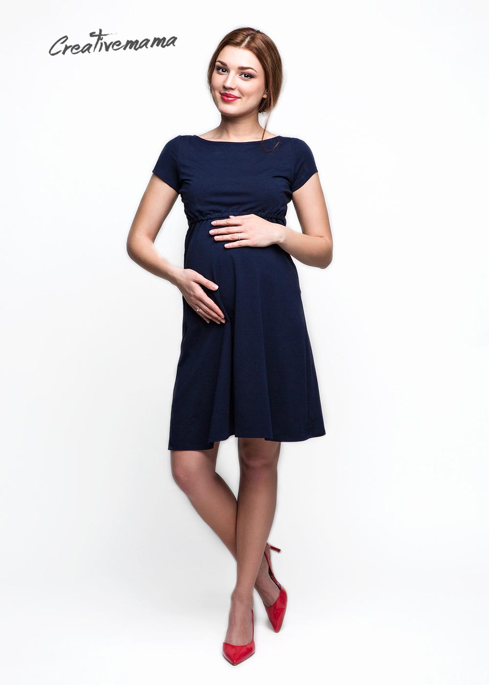 Фото: Синее хлопковое платье для будещих мам Amina