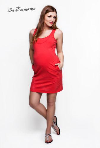 Фото: Летнее платье - майка для беременных женщин Marani коралл (хлопок)