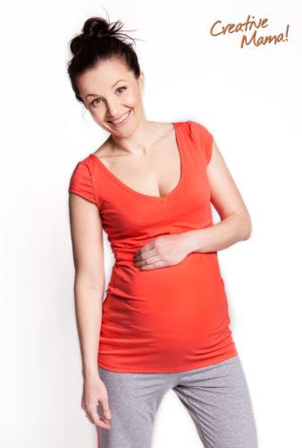Фото: Модная футболка для беременных и кормящих грудью Modern (коралл, хлопок)