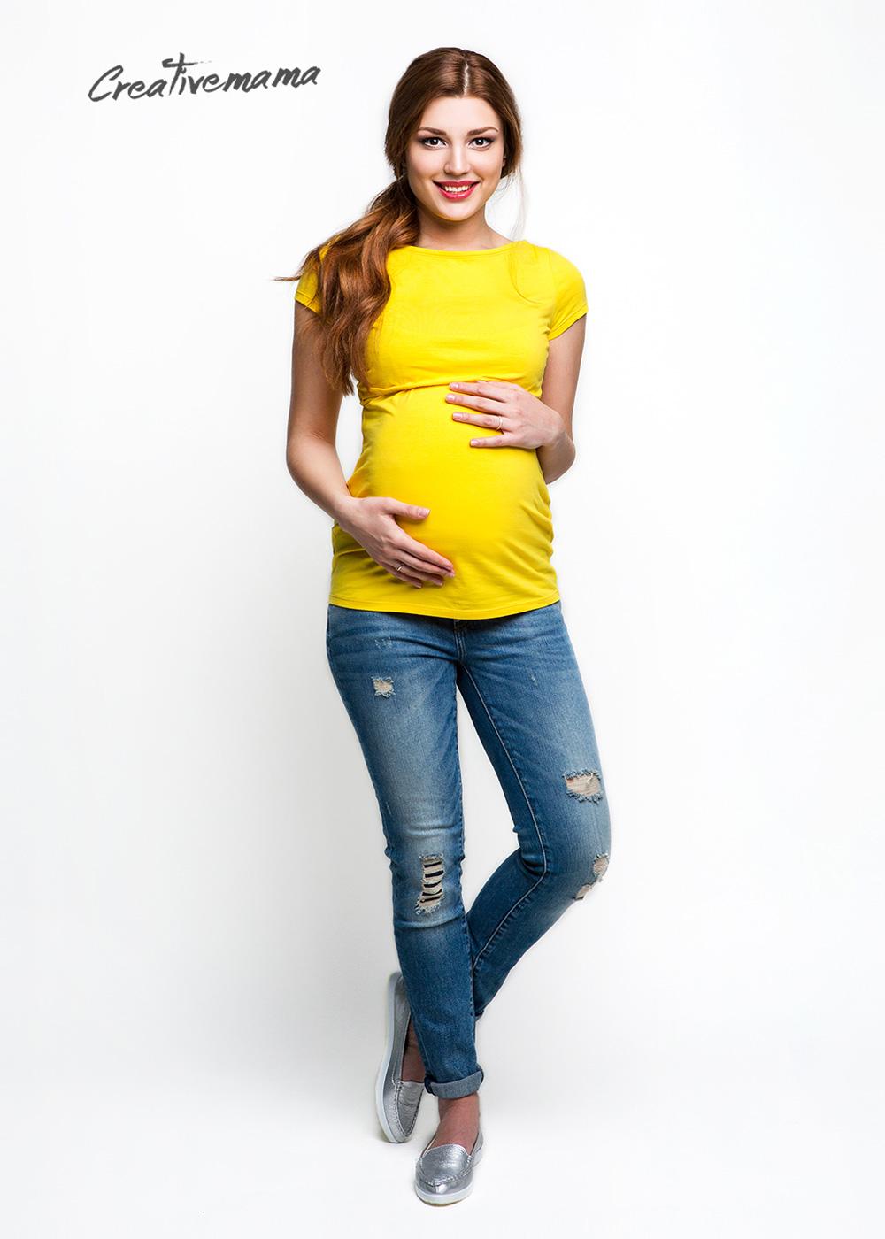 Фото: Яркая футболка для будущих мам Urban (желтый хлопок)
