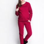Фото: Красные зимние штаны для беременных Marsala (хлопок с начесом)