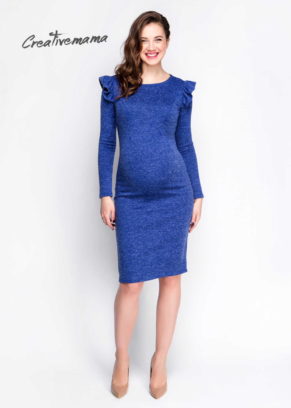 Фото: Синее платье футляр для будущих мам Charme