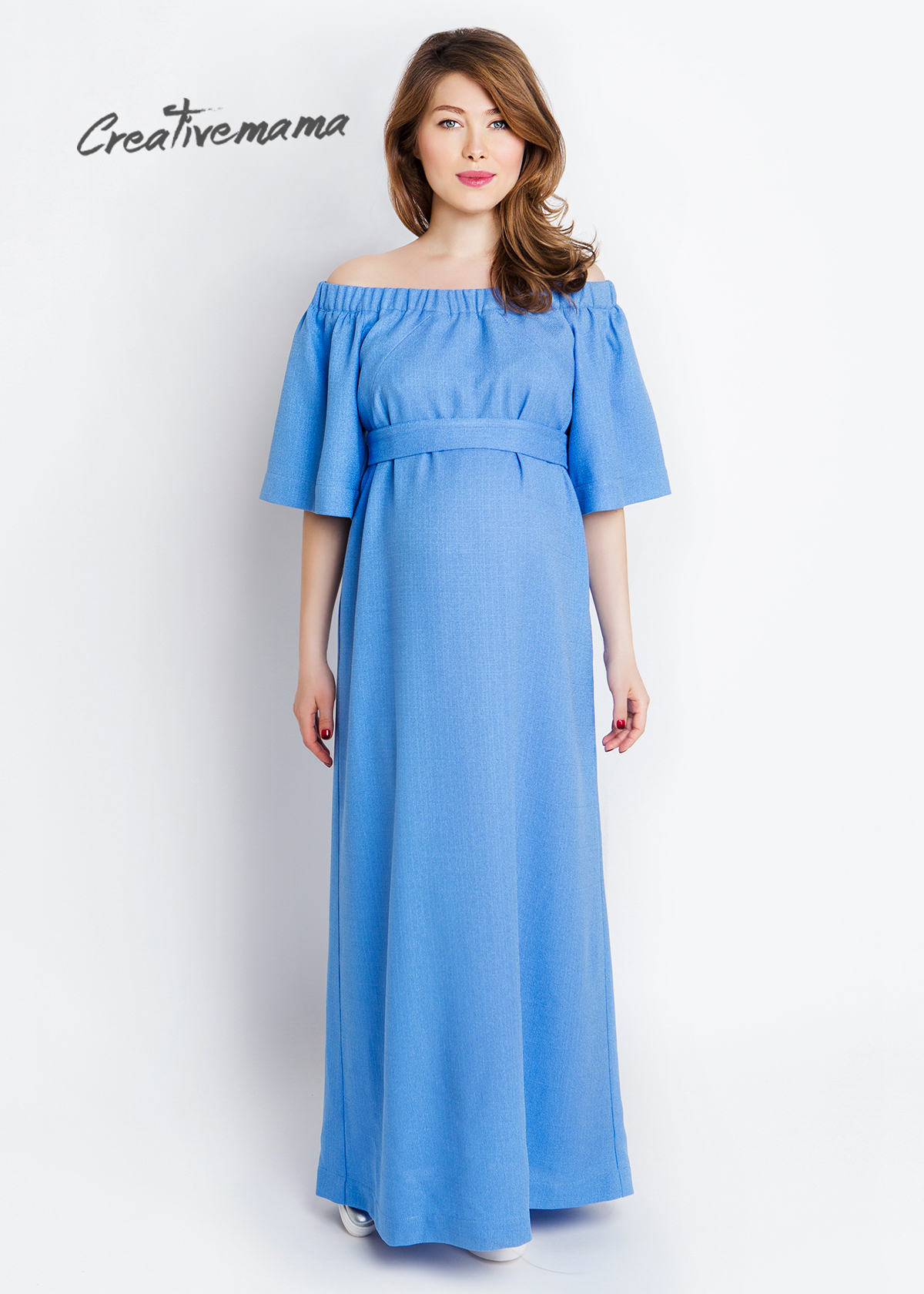 Фото: Голубое длинное платье для беременных женщин Gamma