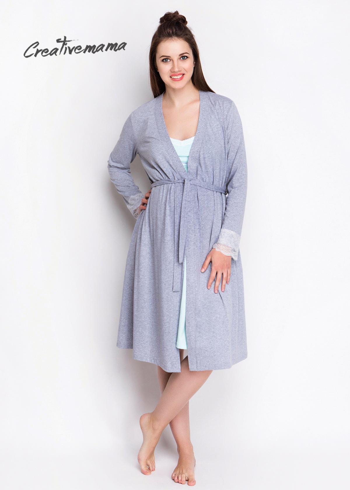 Комплект в роддом халат и сорочка MINT (хлопок) - фото 146845435ed29