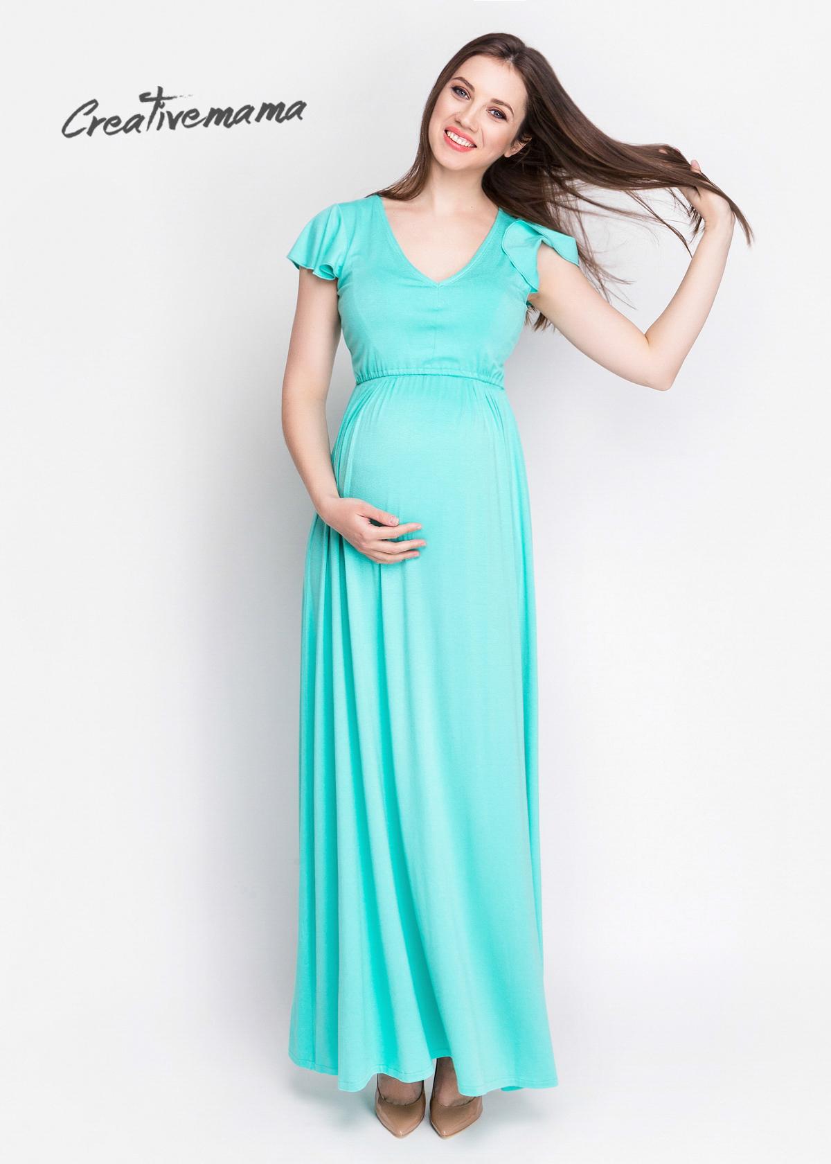 Фото: длинный сарафан летний mint для беременной девушки