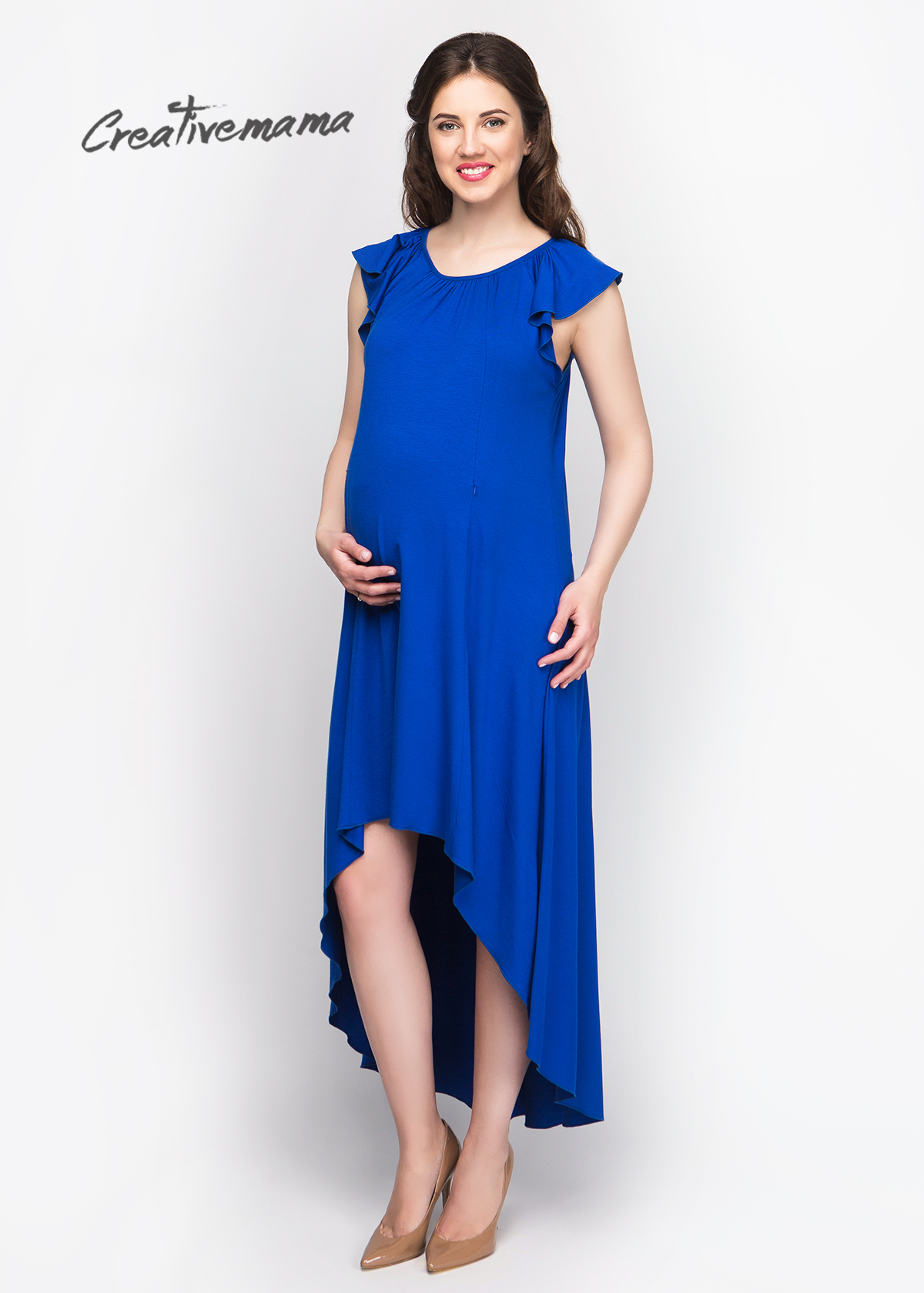 Фото: Синее длинное платье для беременных Emili