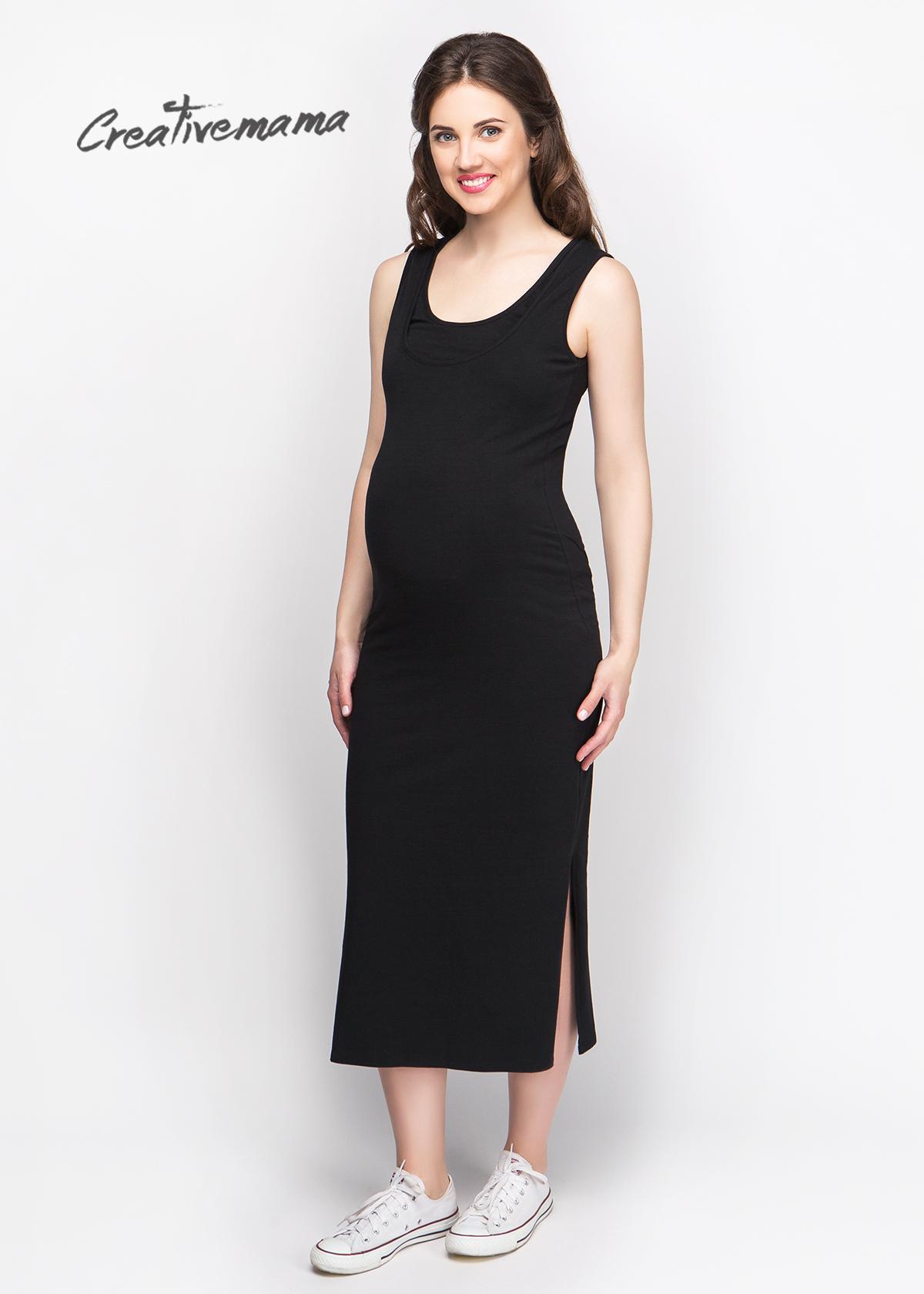 Фото: Платье майка для беременных и кормящих мам Black Chik