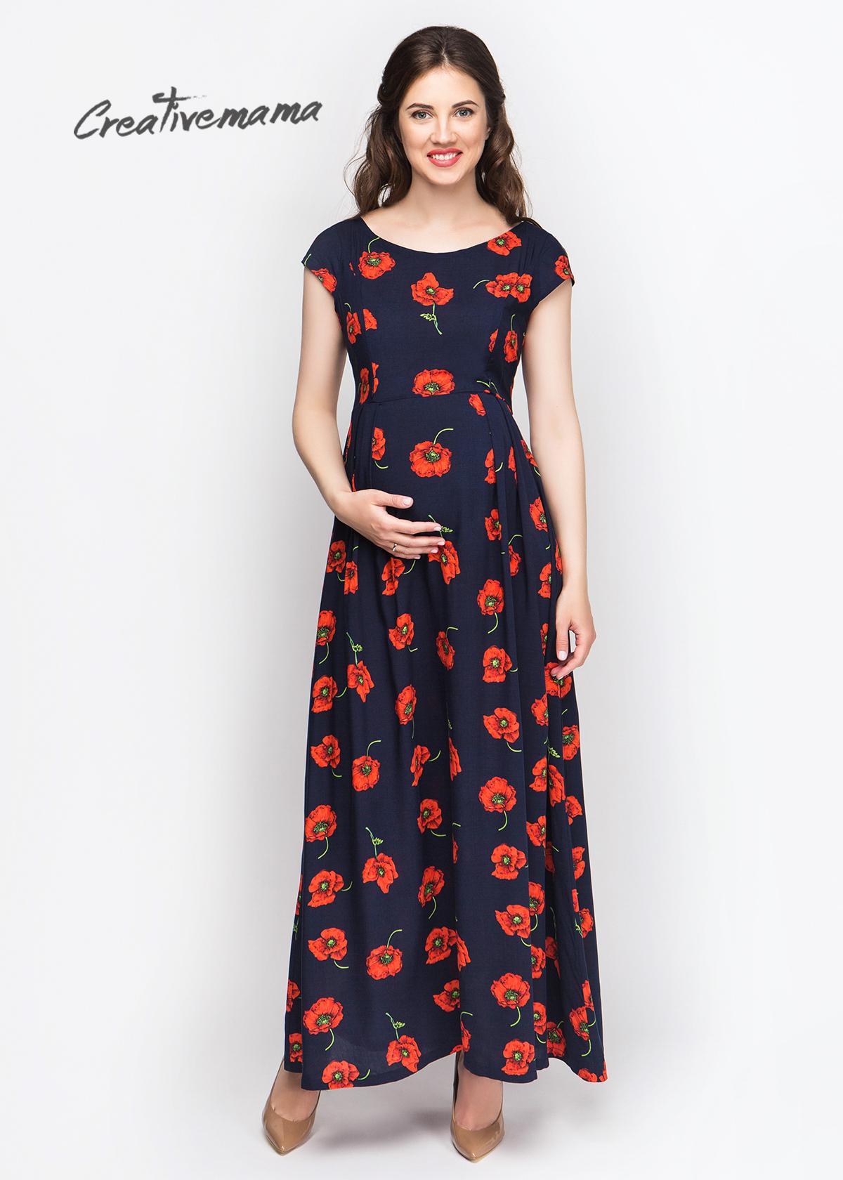 Фото: Длинное платье для будущей мамочки Red Flowers