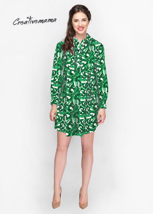 Фото: Зеленое платье рубашка для беременных Leves