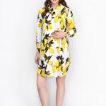 Фото: Желтое платье рубашка Limon для беременных