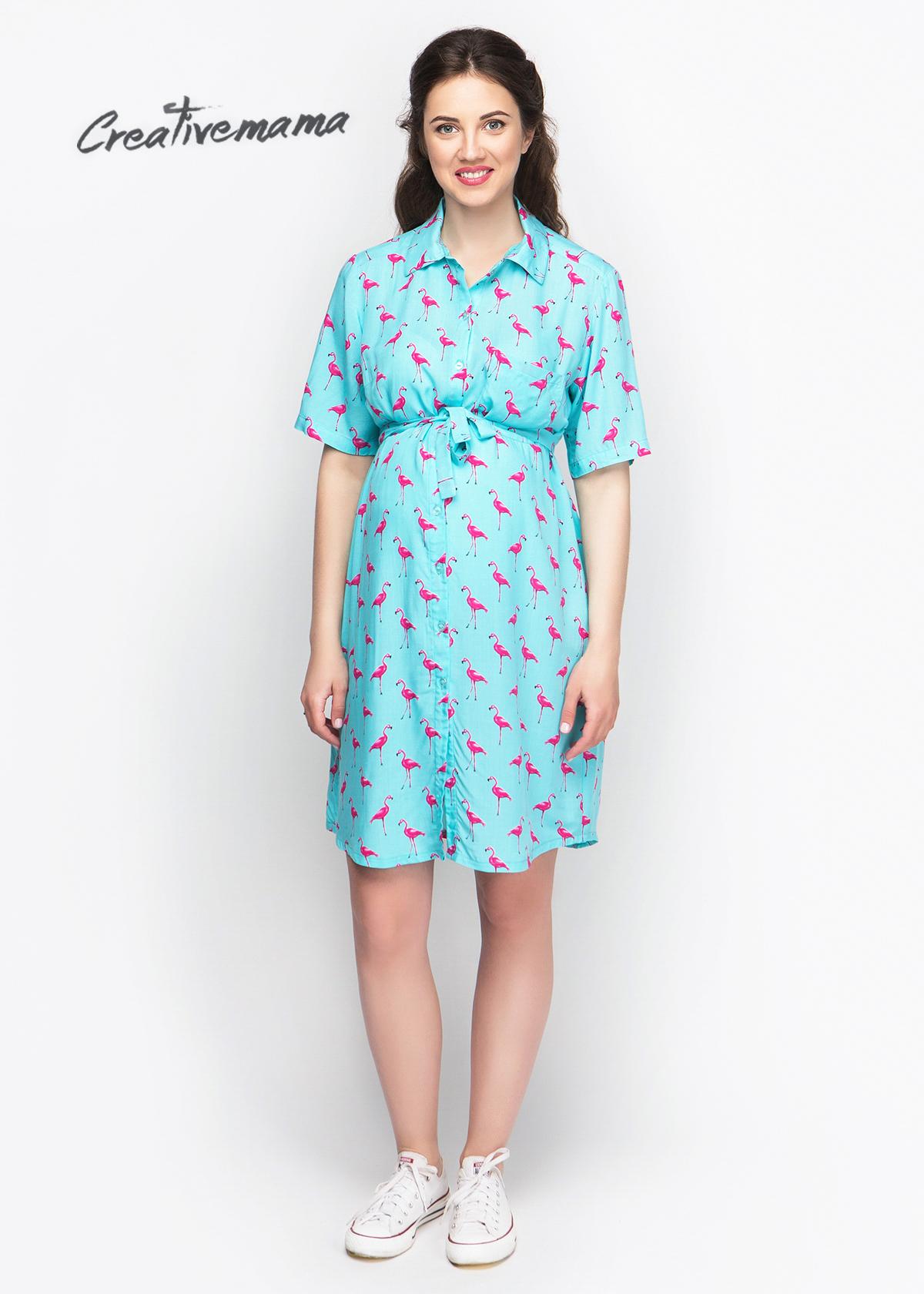 Фото: Платье рубашка для беременных Mint Flamingo