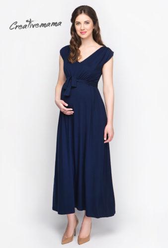 Фото: Темно синее длинное платье для беременной и кормящей мамы Tais