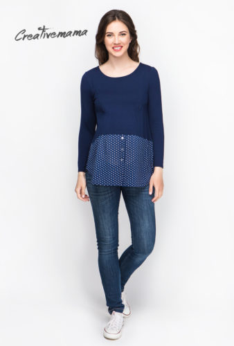 Фото: Синяя рубашка для беременных Combi
