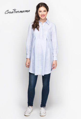 Фото: Легкая рубашка для беременных с длинным рукавом Stripe