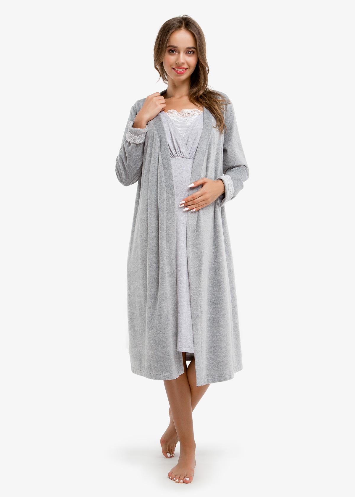 Фото: одежда для будущих мам, Серый халат для беременных и кормящих