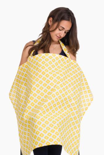 Фото: Шарф накидка для кормления грудью жёлтые квадраты