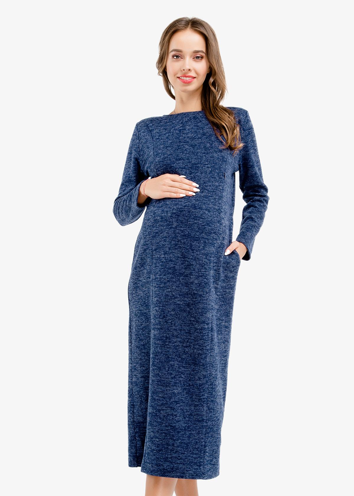 Фото: Синие платье Topazio для беременных и кормящих 1