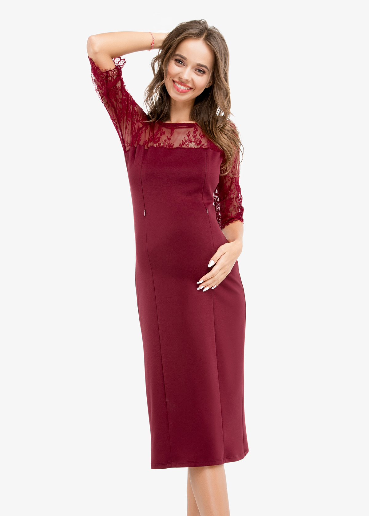 Фото: Прямое платье для беременных и кормящих мам