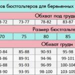 таблица размеров бюстов